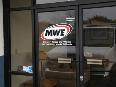 3-color cut vinyl logo on glass door